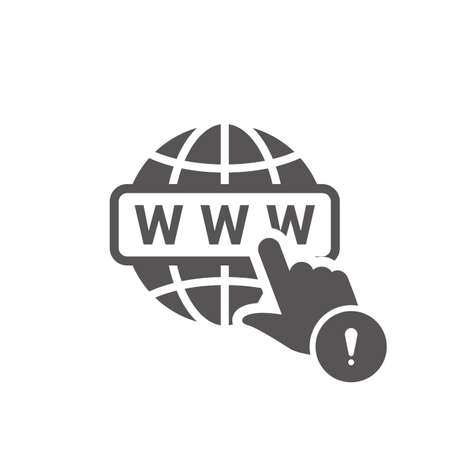 WWW icon with exclamation mark. WWW icon and alert, error, alarm, danger symbol.