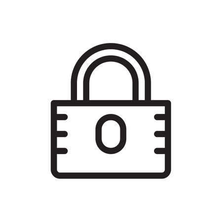 Padlock icon, security icon. Outline bold, thick line style, 4px strokes rounder edges. Vector illustration