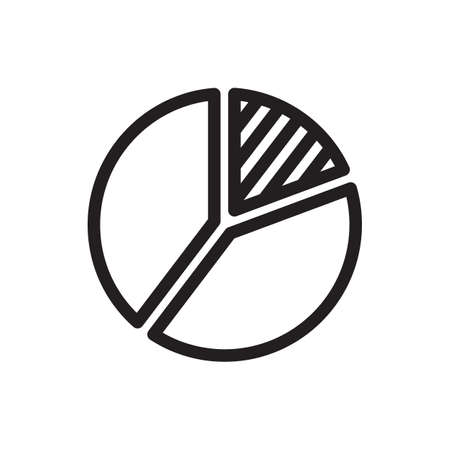 Pie chart icon, business icon. Outline bold, thick line style, 4px strokes rounder edges. Vector illustration Illustration