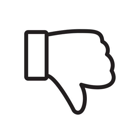 Dislike icon, gestures icon. Outline bold, thick line style, 4px strokes rounder edges. Vector illustration Illustration