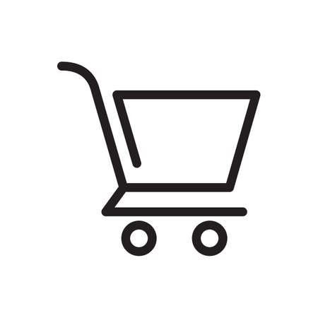 Shopping cart icon, commerce icon. Outline bold, thick line style, 4px strokes rounder edges. Vector illustration Illustration