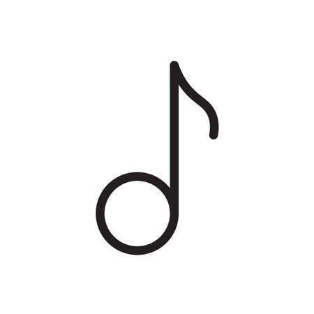 Musical note icon, music icon. Outline bold, thick line style, 4px strokes rounder edges. Vector illustration Illustration