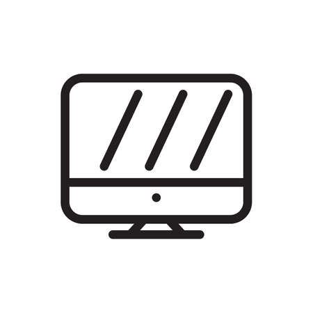 Monitor icon, technology icon. Outline bold, thick line style, 4px strokes rounder edges. Vector illustration Illustration