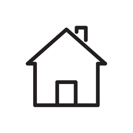 House icon, buildings icon. Outline bold, thick line style, 4px strokes rounder edges. Vector illustration