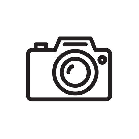 Photo camera icon, technology icon. Outline bold, thick line style, 4px strokes rounder edges. Vector illustration