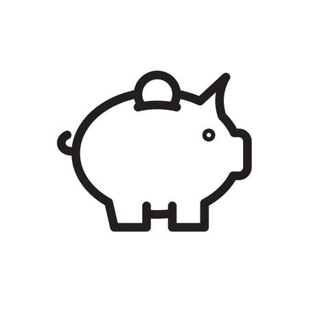 Piggy bank icon, business icon. Outline bold, thick line style, 4px strokes rounder edges. Vector illustration