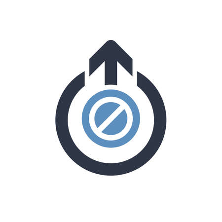 Logout icon, signs icon with not allowed sign. Logout icon and block, forbidden, prohibit symbol. Vector illustration