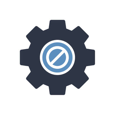 Settings icon, Tools and utensils icon with not allowed sign. Settings icon and block, forbidden, prohibit symbol. Vector illustration
