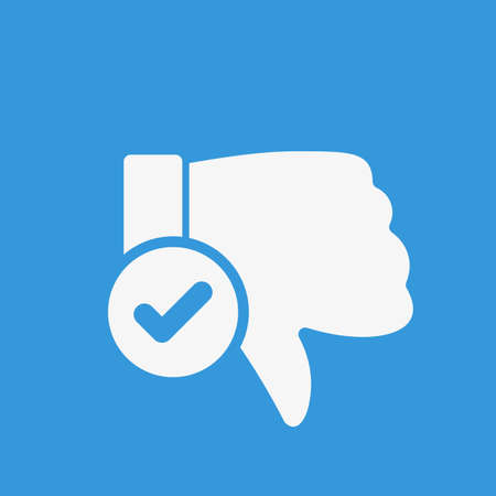 Dislike icon, gestures icon with check sign. Dislike icon and approved, confirm, done, tick, completed symbol. Vector illustration Illustration