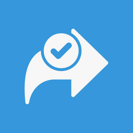 Next icon, arrows icon with check sign. Next icon and approved, confirm, done, tick, completed symbol. Vector illustration