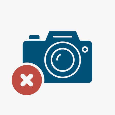 Photo camera icon, technology icon with cancel sign. Photo camera icon and close, delete, remove symbol. Vector illustration