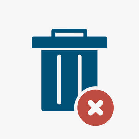 Garbage icon, Tools and utensils icon with cancel sign. Garbage icon and close, delete, remove symbol. Vector illustration Stock Illustratie