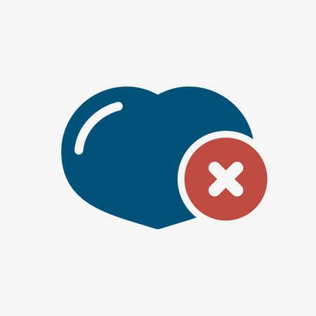 Heart icon, signs icon with cancel sign. Heart icon and close, delete, remove symbol. Vector illustration