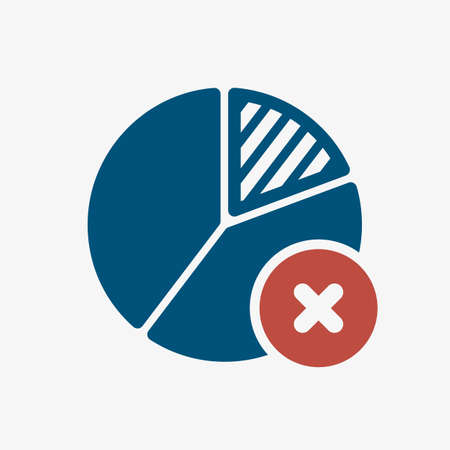Pie chart icon, business icon with cancel sign. Pie chart icon and close, delete, remove symbol. Vector illustration