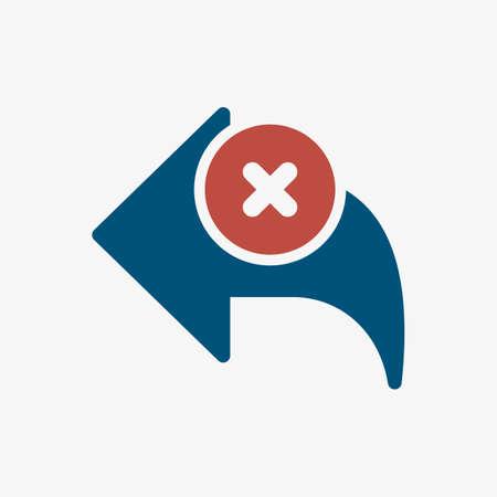 Back icon, arrows icon with cancel sign. Back icon and close, delete, remove symbol. Vector illustration