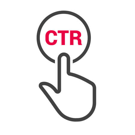 Hand presses the button with text CTR. Vector illustration