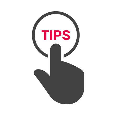 """Hand drukt op de knop met de tekst """"TIPS"""". Vector illustratie Vector Illustratie"""