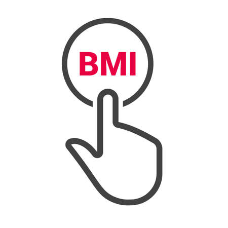 Hand presses the button with text BMI. Vector illustration