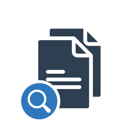 Copy icon, signs icon with research sign. Copy icon and explore, find, inspect symbol. Vector illustration Illustration