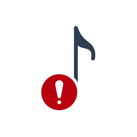 Musical note icon, music icon with exclamation mark. Musical note icon and alert, error, alarm, danger symbol. Vector illustration