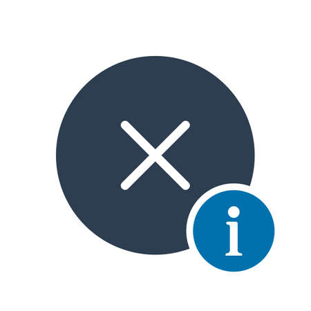 Cancel icon, signs icon with information sign. Cancel icon and about, faq, help, hint symbol. Vector illustration
