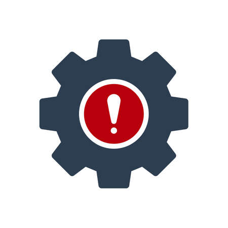 Settings icon, Tools and utensils icon with exclamation mark. Settings icon and alert, error, alarm, danger symbol. Vector illustration