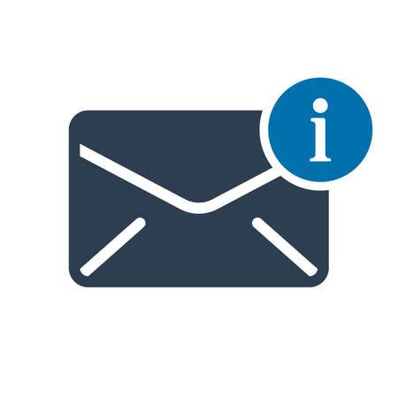 Envelope icon, multimedia icon with information sign. Envelope icon and about, faq, help, hint symbol. Vector illustration