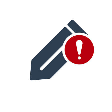 Edit icon, Tools and utensils icon with exclamation mark. Edit icon and alert, error, alarm, danger symbol. Vector illustration Vectores