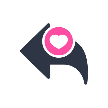 Back icon, arrows icon with heart sign. Back icon and favorite, like, love, care symbol. Vector illustration Иллюстрация