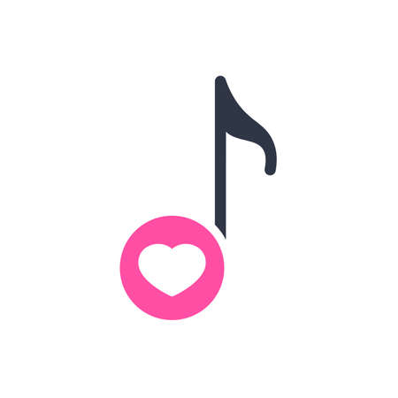 Musical note icon, music icon with heart sign. Musical note icon and favorite, like, love, care symbol. Vector illustration