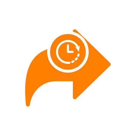 Next icon, arrows icon with clock sign. Next icon and countdown, deadline, schedule, planning symbol. Vector illustration
