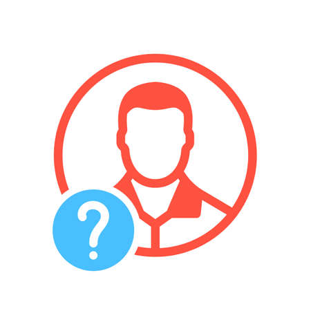 Avatar icon, social icon with question mark. Avatar icon and help, how to, info, query symbol. Vector illustration Ilustração