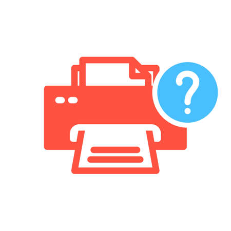 Printer icon, technology icon with question mark. Printer icon and help, how to, info, query symbol. Vector illustration