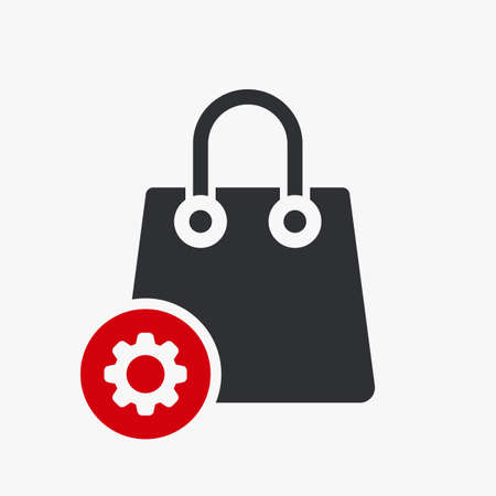 Shopping bag icon, business icon with settings sign. Shopping bag icon and customize, setup, manage, process symbol. Vector illustration Vettoriali