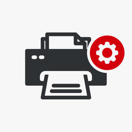Printer icon, technology icon with settings sign. Printer icon and customize, setup, manage, process symbol. Vector illustration