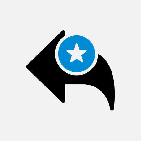 Back icon, arrows icon with star sign. Back icon and best, favorite, rating symbol. Vector illustration