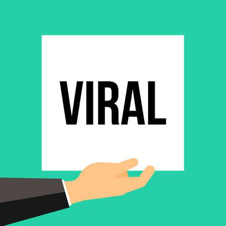 Man showing paper VIRAL text. Vector illustration Stock Illustratie