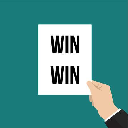 Man showing paper WIN WIN text. Vector illustration Stock Illustratie