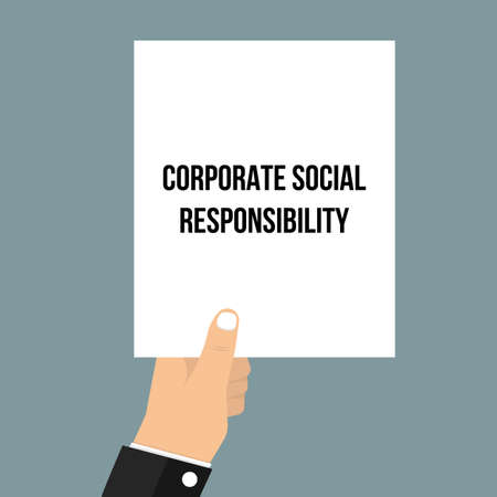 Man showing paper CORPORATE SOCIAL RESPONSIBILITY. Vector illustration Ilustração