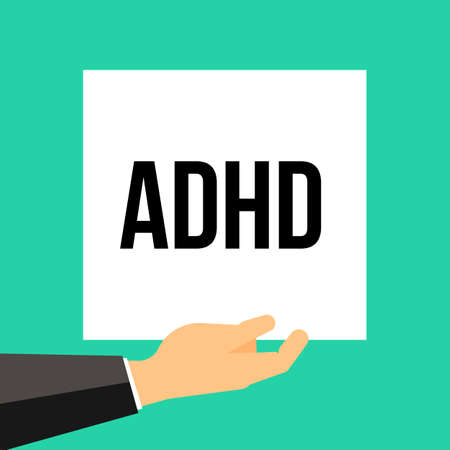 Man showing paper ADHD text. Vector illustration
