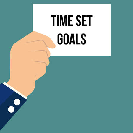 Man showing paper TIME SET GOALS. Vector illustration