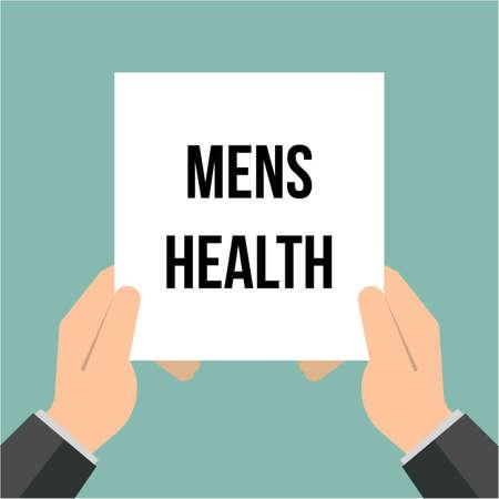 Man showing paper MENS HEALTH text. Vector illustration Illustration