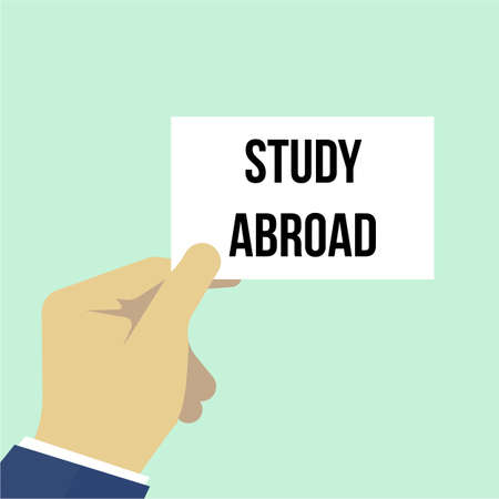 Man showing paper STUDY ABROAD text. Vector illustration