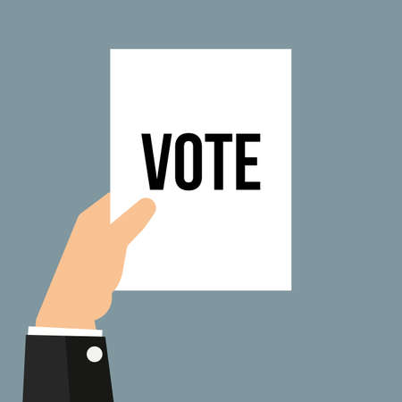 Man showing paper VOTE text. Vector illustration