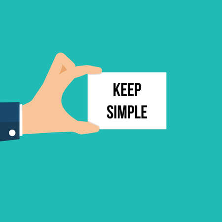 Man showing paper KEEP SIMPLE text. Vector illustration