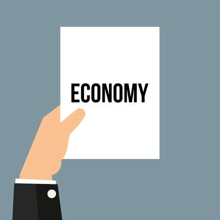 Man showing paper ECONOMY text. Vector illustration