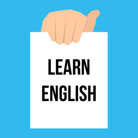 Man showing paper LEARN ENGLISH text. Vector Illustration