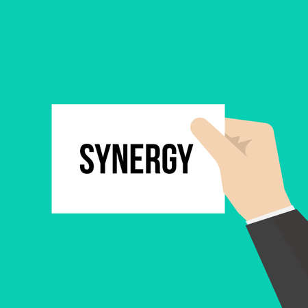 Man showing paper SYNERGY text. Vector Illustration
