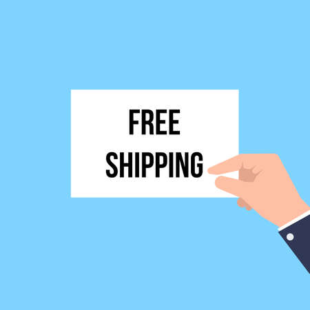 Man showing paper FREE SHIPPING text. Vector Illustration