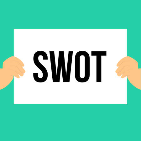 Man showing paper SWOT text. Vector Illustration